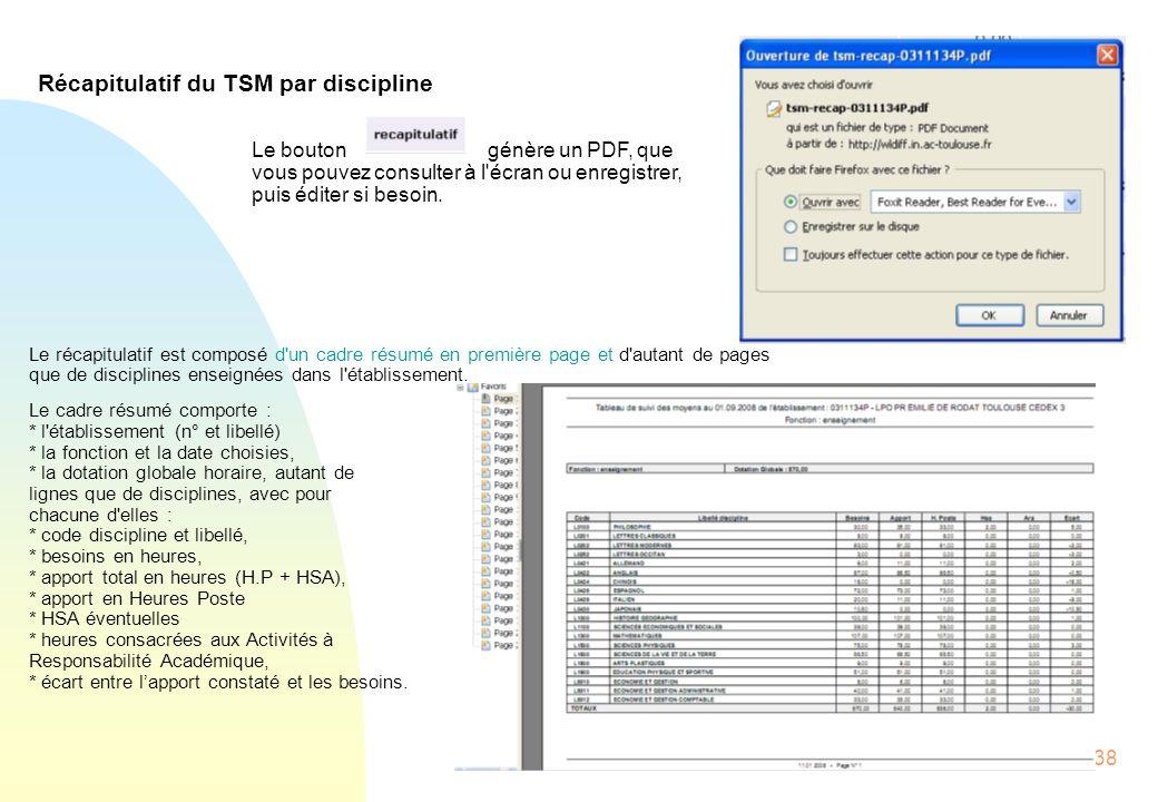 38 Récapitulatif du TSM par discipline Le bouton génère un PDF, que vous pouvez consulter à l écran ou enregistrer, puis éditer si besoin.