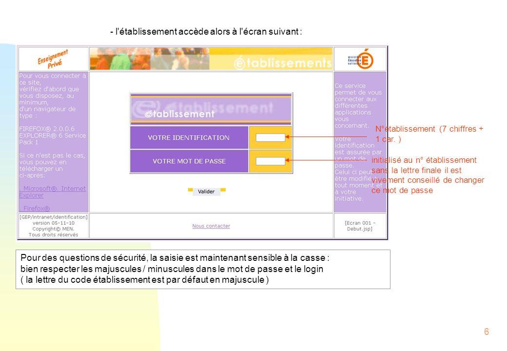 7 En cas d erreur de saisie, les zones sont remises à blanc , avec un message d erreur : En bas d écran, le lien vous permet d envoyer un mail au responsable technique ( dont l adresse a été paramétrée ), en cas de problème de connexion ( ou d oubli de mot de passe ) :