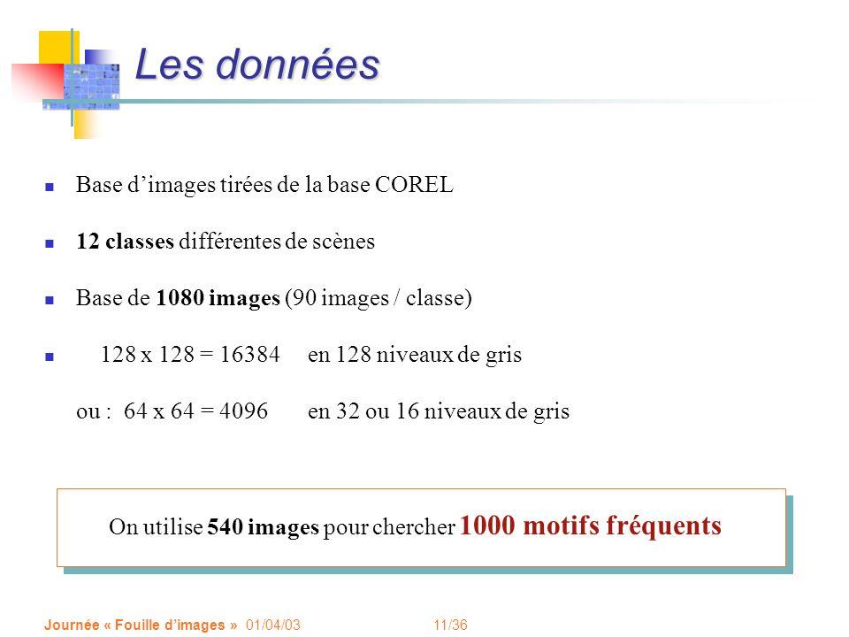 11/36 Journée « Fouille dimages » 01/04/03 Les données Base dimages tirées de la base COREL 12 classes différentes de scènes Base de 1080 images (90 i