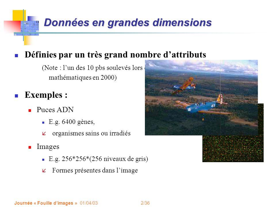 2/36 Journée « Fouille dimages » 01/04/03 Données en grandes dimensions Définies par un très grand nombre dattributs (Note : lun des 10 pbs soulevés lors du congrès mondial de mathématiques en 2000) Exemples : Puces ADN E.g.