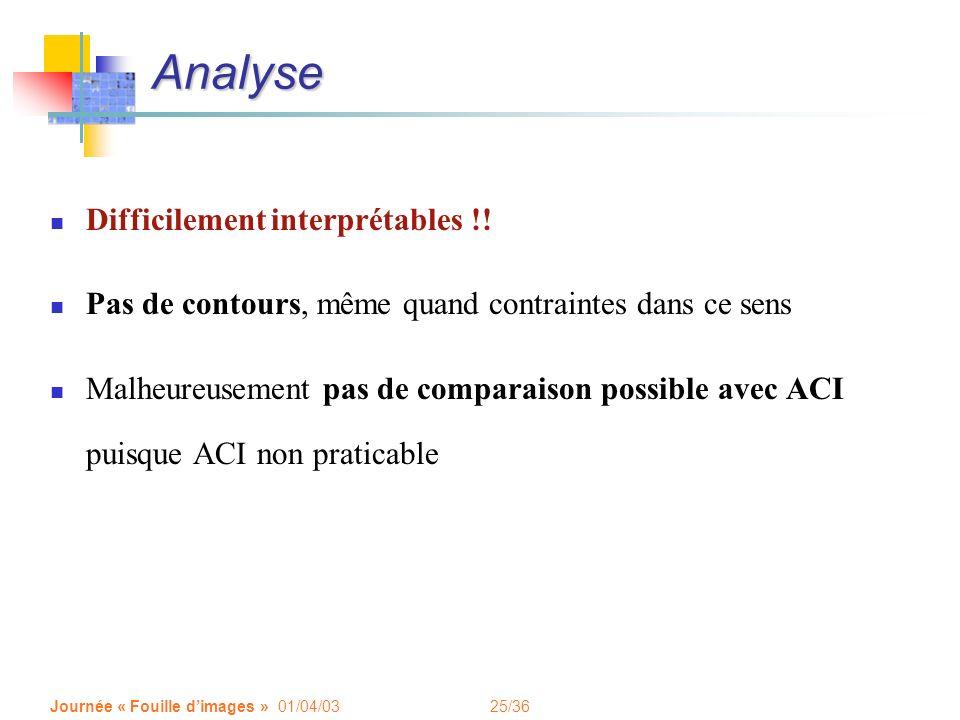 25/36 Journée « Fouille dimages » 01/04/03 Analyse Difficilement interprétables !! Pas de contours, même quand contraintes dans ce sens Malheureusemen