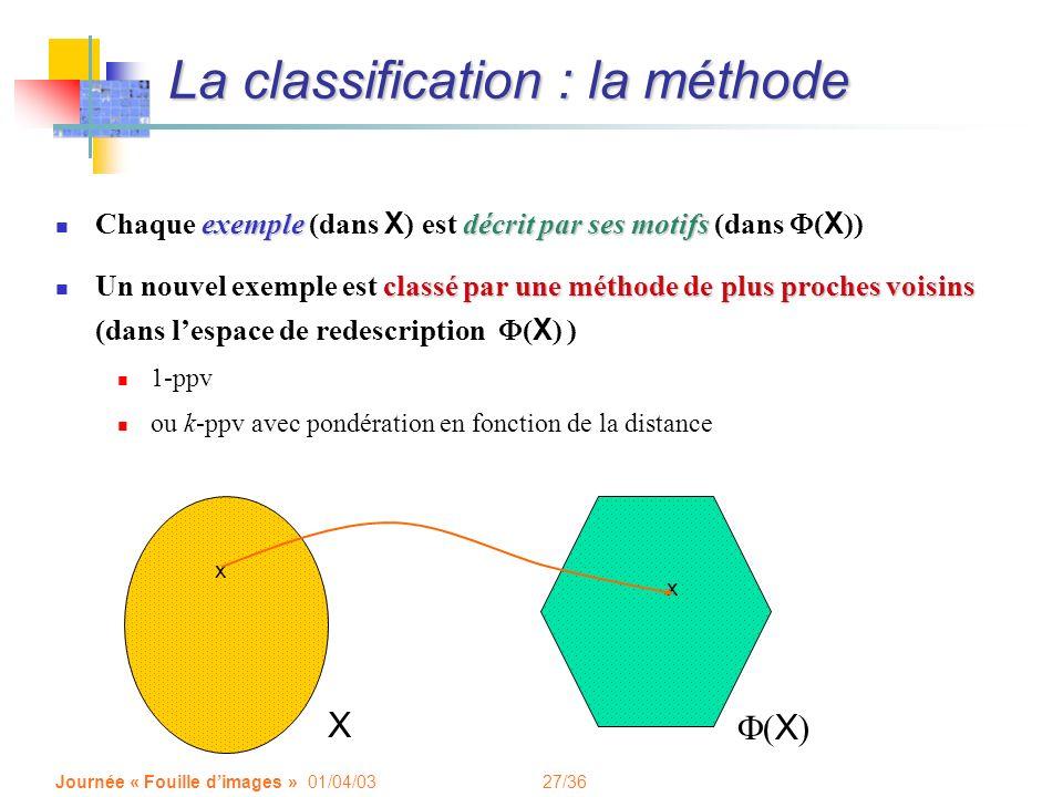 27/36 Journée « Fouille dimages » 01/04/03 La classification : la méthode exempledécrit par ses motifs Chaque exemple (dans X ) est décrit par ses motifs (dans ( X )) classé par une méthode de plus proches voisins Un nouvel exemple est classé par une méthode de plus proches voisins (dans lespace de redescription ( X ) ) 1-ppv ou k-ppv avec pondération en fonction de la distance X ( X ) x x