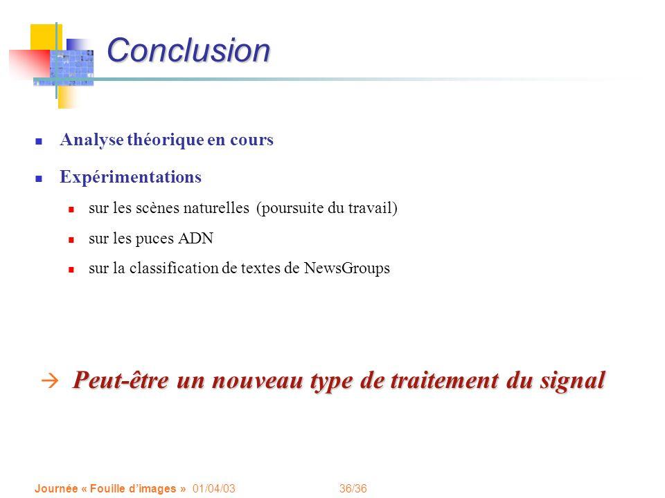 36/36 Journée « Fouille dimages » 01/04/03 Conclusion Analyse théorique en cours Expérimentations sur les scènes naturelles (poursuite du travail) sur