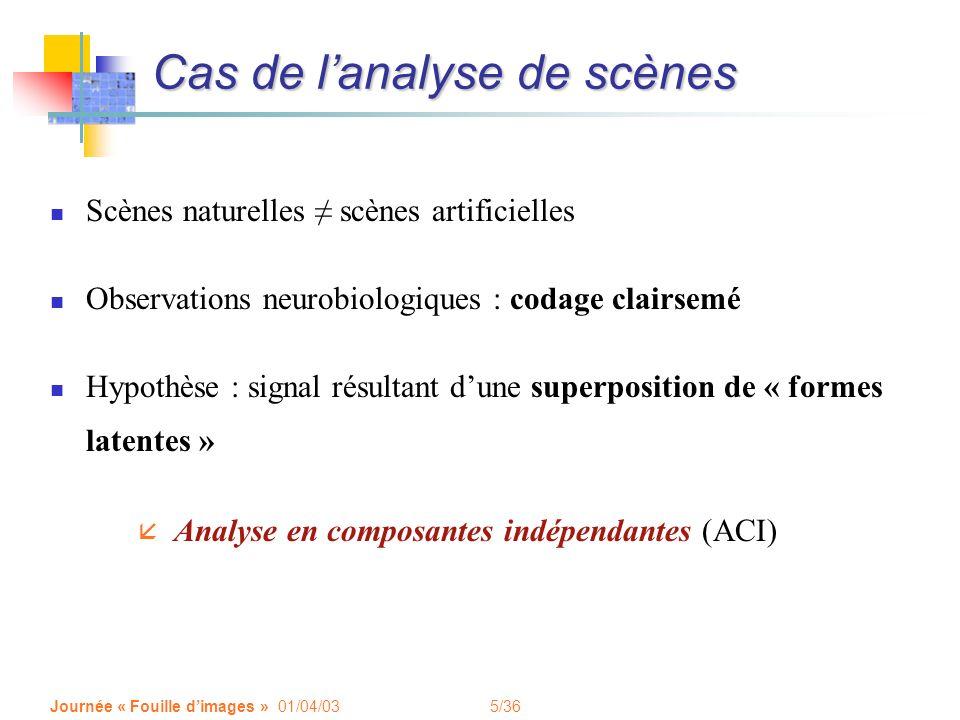 5/36 Journée « Fouille dimages » 01/04/03 Cas de lanalyse de scènes Scènes naturelles scènes artificielles Observations neurobiologiques : codage clai
