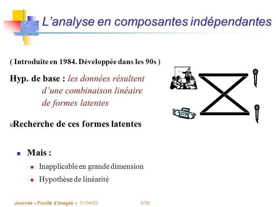 6/36 Journée « Fouille dimages » 01/04/03 Lanalyse en composantes indépendantes Mais : Inapplicable en grande dimension Hypothèse de linéarité ( Intro