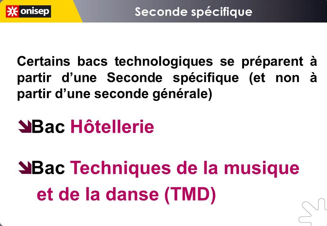 Certains bacs technologiques se préparent à partir dune Seconde spécifique (et non à partir dune seconde générale) Bac Hôtellerie Bac Techniques de la musique et de la danse (TMD)