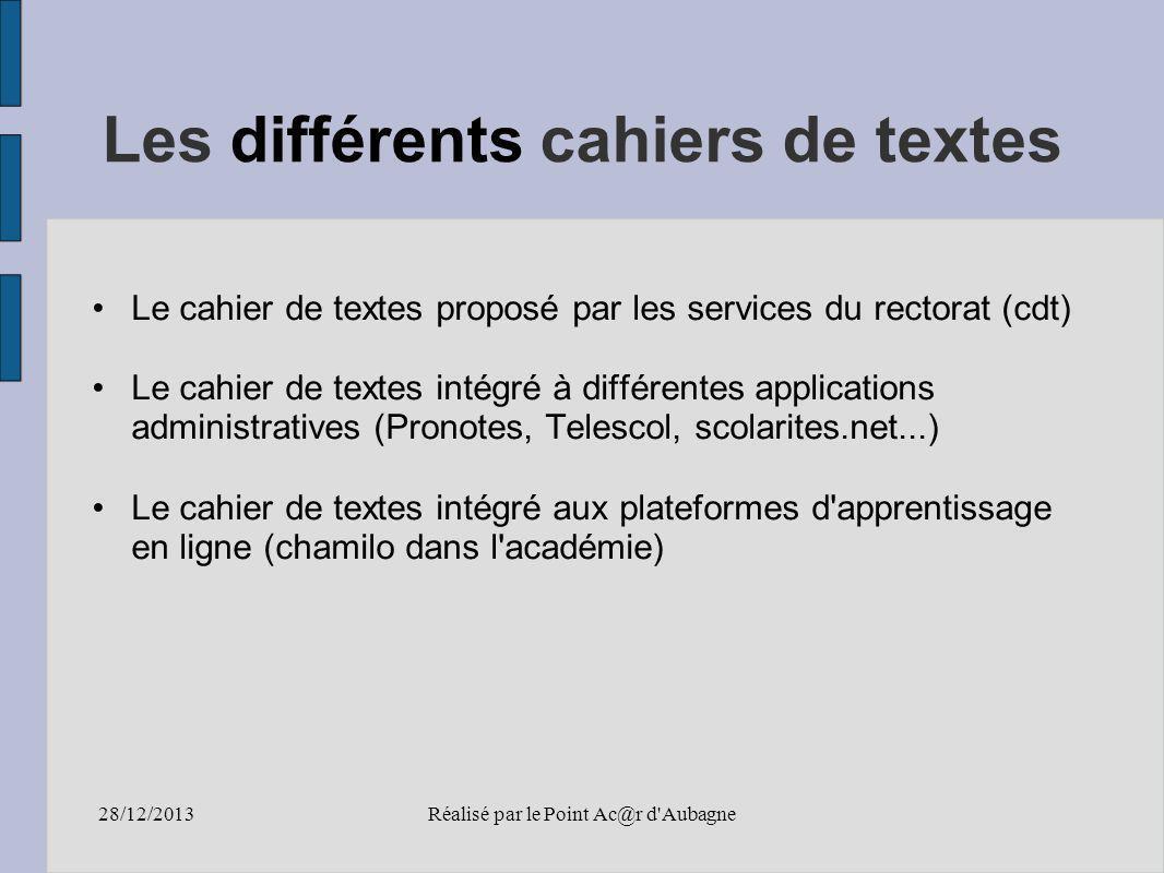 28/12/2013Réalisé par le Point Ac@r d Aubagne Avantages Optimiser l information des élèves et des familles.