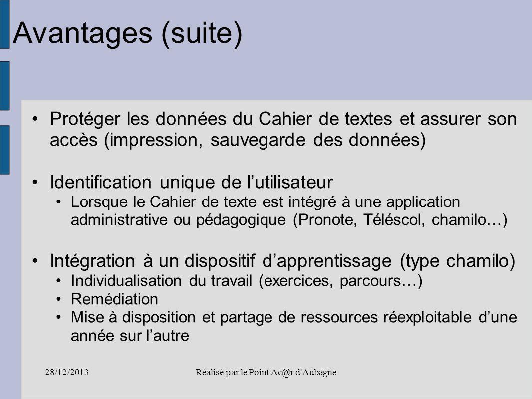 28/12/2013Réalisé par le Point Ac@r d'Aubagne Avantages (suite) Protéger les données du Cahier de textes et assurer son accès (impression, sauvegarde
