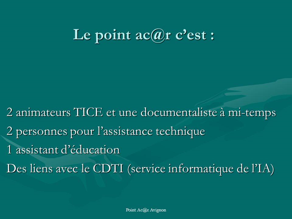 Point Ac@r Avignon Le point ac@r cest : 2 animateurs TICE et une documentaliste à mi-temps 2 personnes pour lassistance technique 1 assistant déducation Des liens avec le CDTI (service informatique de lIA)