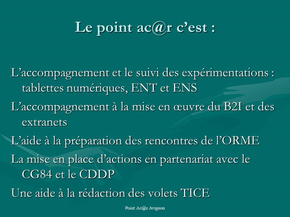 Point Ac@r Avignon Le point ac@r cest : Laccompagnement et le suivi des expérimentations : tablettes numériques, ENT et ENS Laccompagnement à la mise en œuvre du B2I et des extranets Laide à la préparation des rencontres de lORME La mise en place dactions en partenariat avec le CG84 et le CDDP Une aide à la rédaction des volets TICE