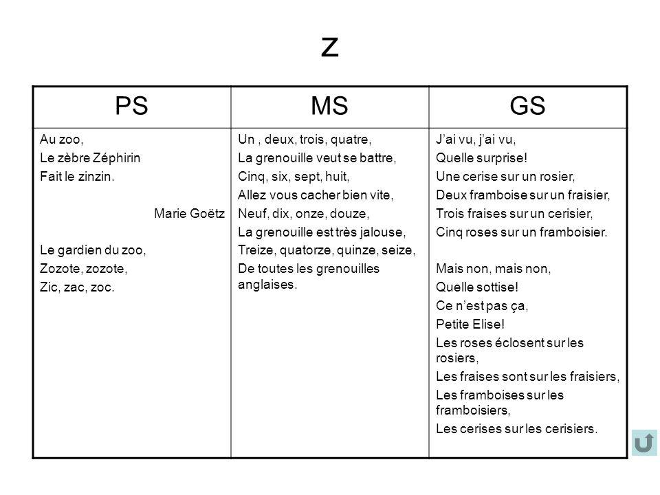 z PSMSGS Au zoo, Le zèbre Zéphirin Fait le zinzin. Marie Goëtz Le gardien du zoo, Zozote, zozote, Zic, zac, zoc. Un, deux, trois, quatre, La grenouill