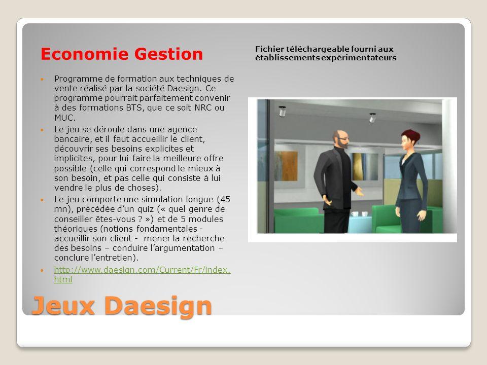 Jeux Daesign Economie Gestion Fichier téléchargeable fourni aux établissements expérimentateurs Programme de formation aux techniques de vente réalisé