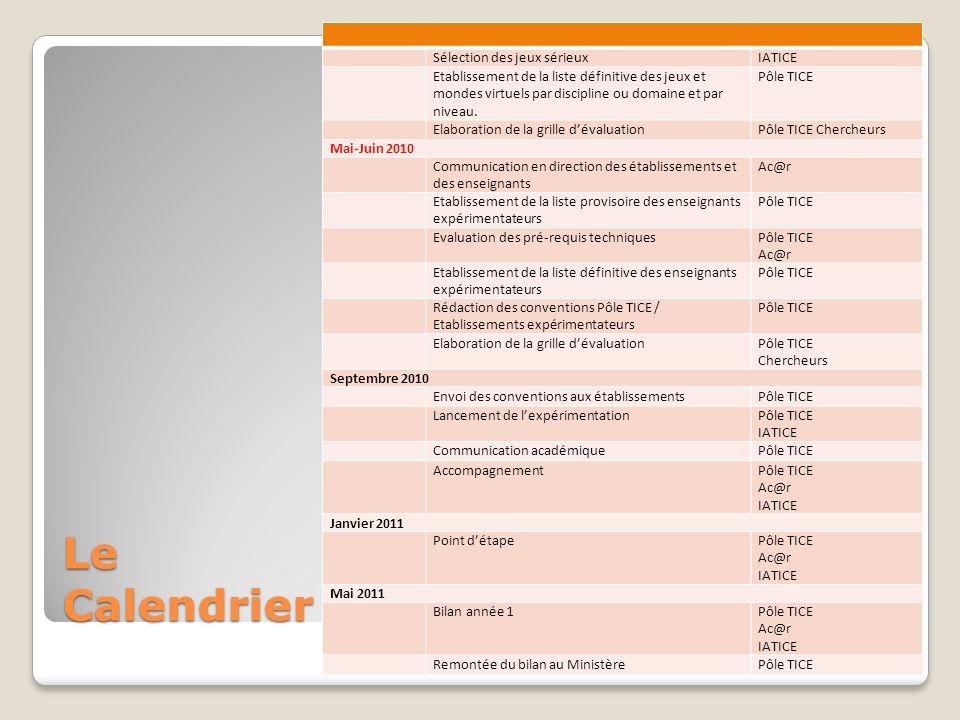 Le Calendrier Sélection des jeux sérieuxIATICE Etablissement de la liste définitive des jeux et mondes virtuels par discipline ou domaine et par nivea