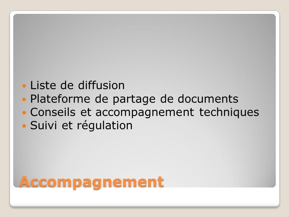 Accompagnement Liste de diffusion Plateforme de partage de documents Conseils et accompagnement techniques Suivi et régulation