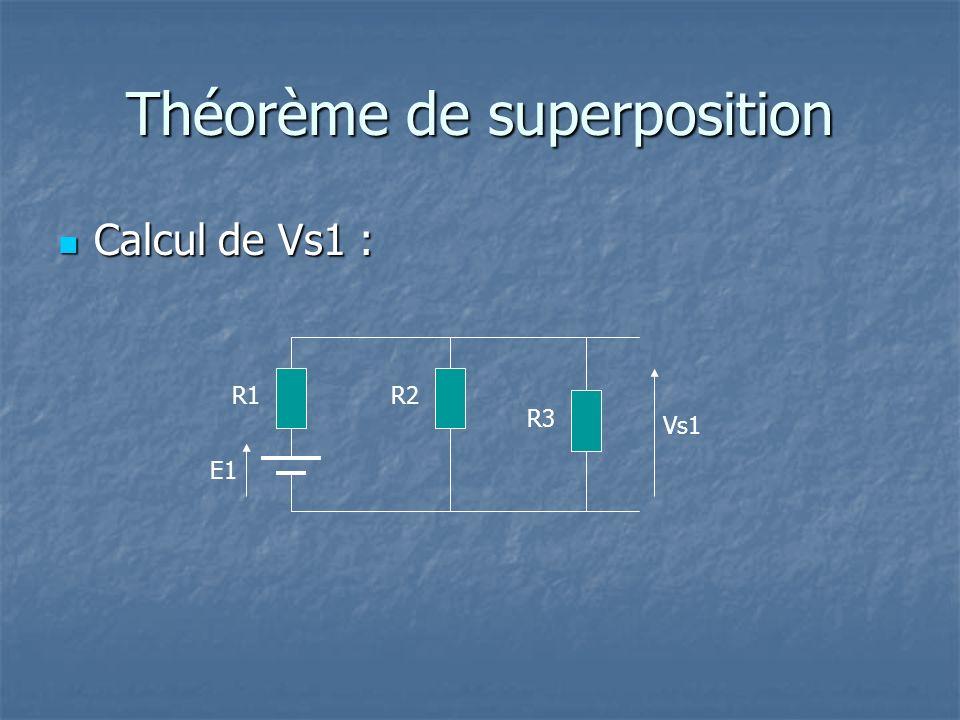 Théorème de superposition Calcul de Vs1 : Calcul de Vs1 : R2 E1 R1 R3 Vs1