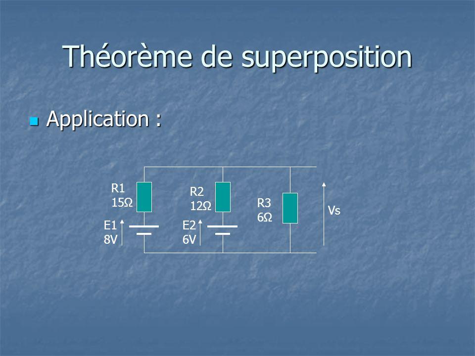Théorème de superposition Application : Application : E2 6V R2 12Ω E1 8V R1 15Ω R3 6Ω Vs