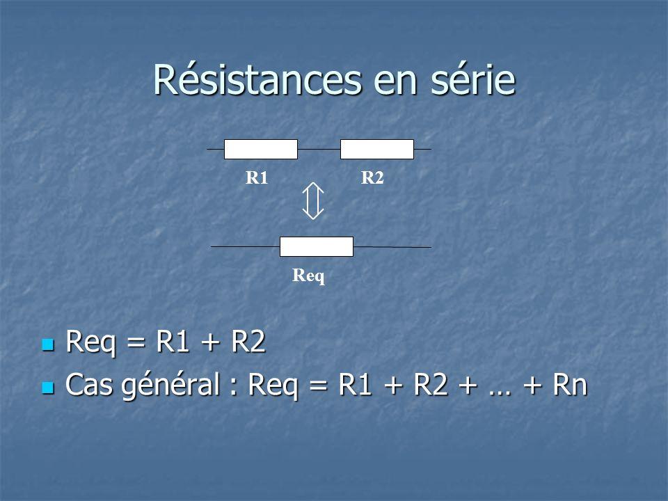 Résistances en série Req = R1 + R2 Req = R1 + R2 Cas général : Req = R1 + R2 + … + Rn Cas général : Req = R1 + R2 + … + Rn R1R2 Req