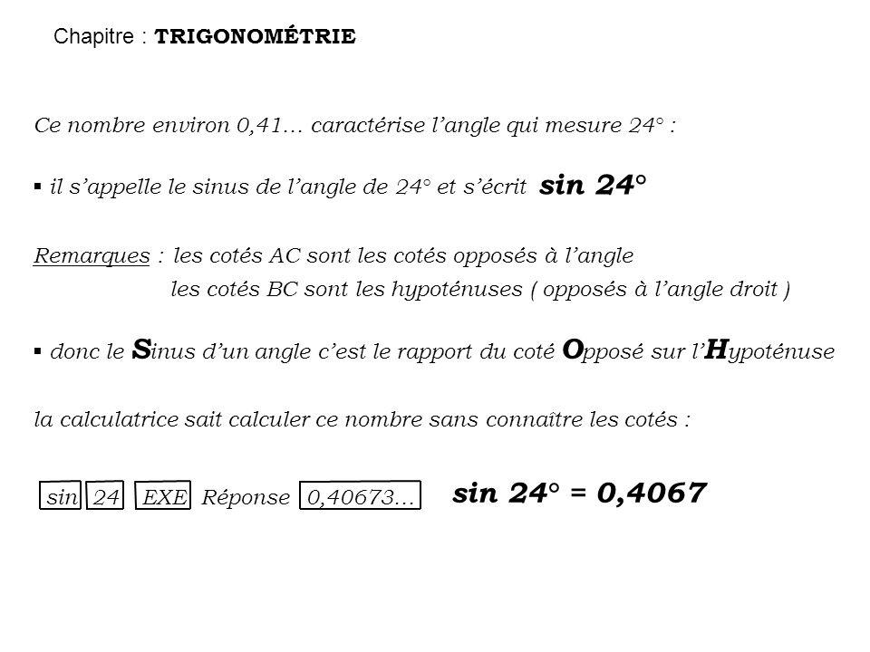 5,5 cm B A C 5 cm 2,2 cm 9,1 cm B A1A1 C1C1 4,1 cm 10 cm B A2A2 C2C2 4,5 cm 11 cm Chapitre : TRIGONOMÉTRIE les BAles BCles BA/BC 55,50,9091 9,1100,9100 10110,9091 coté adjacent hypoténuse opposé adjacent