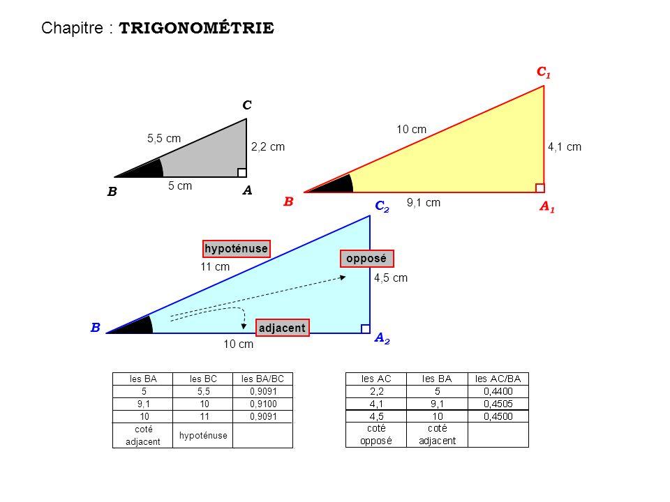 0,91 cest le cosinus de 24° 0,45 cest la tangente de 24° cos 24° = 0,91 environ tan 24° = 0,45 environ valeur précise de la calculatrice : valeur précise de la calculatrice : cos 24° = 0,9135 tan 24° = 0,4452 le C osinus dun angle cest la T angente dun angle cest le coté A djacent sur l H ypoténuse le coté O pposé sur le coté A djacent Chapitre : TRIGONOMÉTRIE