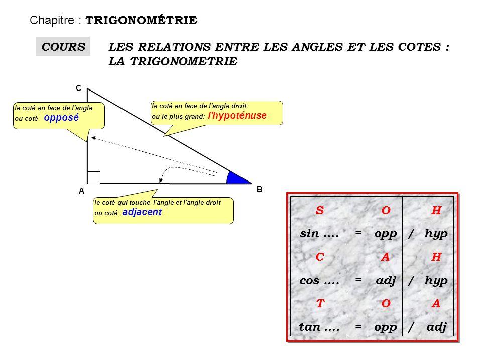 le coté en face de l'angle ou coté opposé le coté en face de l'angle droit ou le plus grand: l'hypoténuse le coté qui touche l'angle et l'angle droit