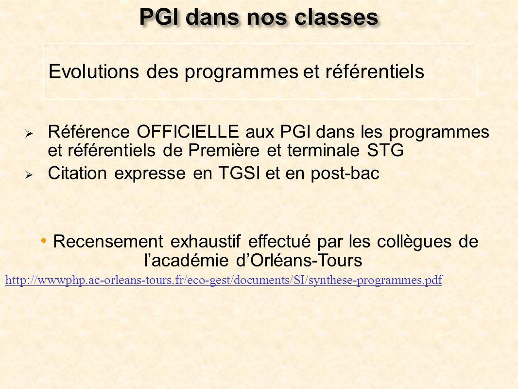 Référence OFFICIELLE aux PGI dans les programmes et référentiels de Première et terminale STG Citation expresse en TGSI et en post-bac Evolutions des
