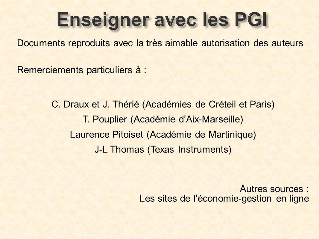 Documents reproduits avec la très aimable autorisation des auteurs Remerciements particuliers à : C. Draux et J. Thérié (Académies de Créteil et Paris