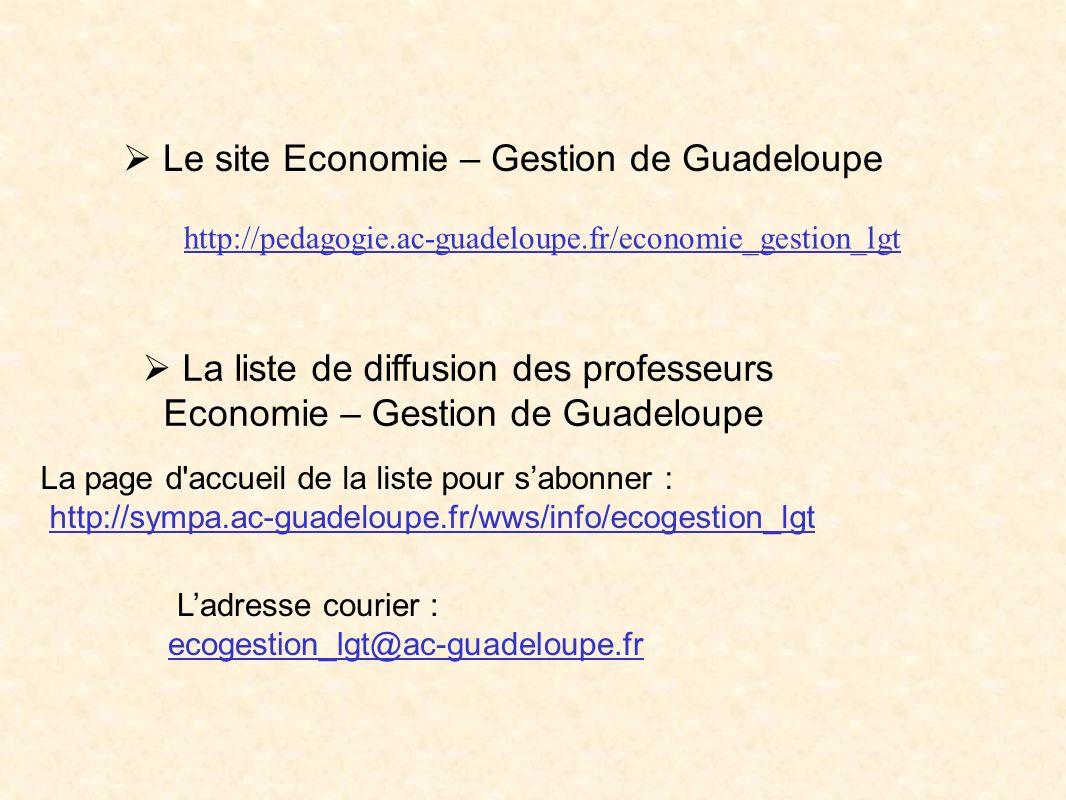 Le site Economie – Gestion de Guadeloupe http://pedagogie.ac-guadeloupe.fr/economie_gestion_lgt La liste de diffusion des professeurs Economie – Gesti