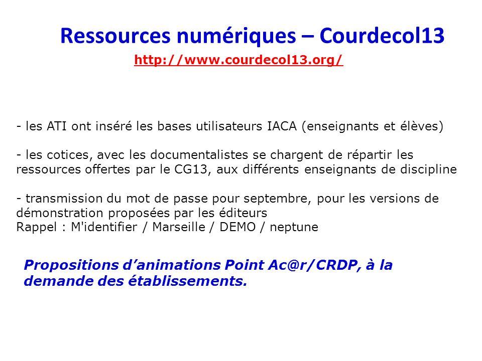 Ressources numériques – Courdecol13 http://www.courdecol13.org/ - les ATI ont inséré les bases utilisateurs IACA (enseignants et élèves) - les cotices