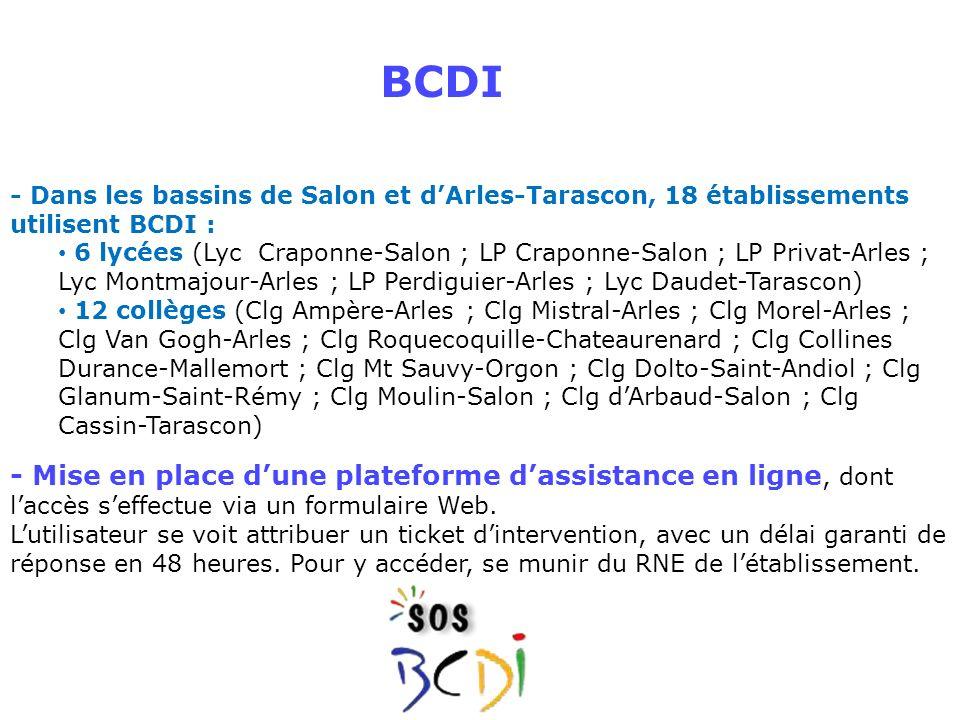 - Dans les bassins de Salon et dArles-Tarascon, 18 établissements utilisent BCDI : 6 lycées (Lyc Craponne-Salon ; LP Craponne-Salon ; LP Privat-Arles