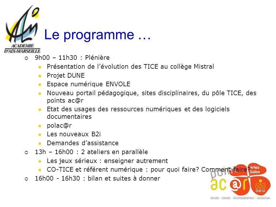 Le programme … 9h00 – 11h30 : Plénière Présentation de lévolution des TICE au collège Mistral Projet DUNE Espace numérique ENVOLE Nouveau portail péda