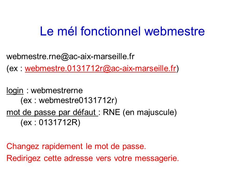 webmestre.rne@ac-aix-marseille.fr (ex : webmestre.0131712r@ac-aix-marseille.fr)webmestre.0131712r@ac-aix-marseille.fr login : webmestrerne (ex : webme