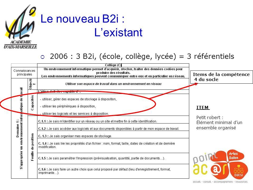 2006 : 3 B2i, (école, collège, lycée) = 3 référentiels Le nouveau B2i : Lexistant Items de la compétence 4 du socle ITEM Petit robert : Élément minima
