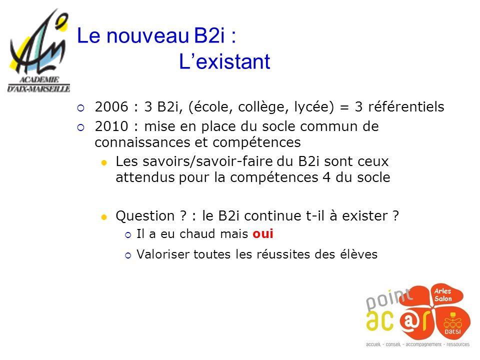 2006 : 3 B2i, (école, collège, lycée) = 3 référentiels 2010 : mise en place du socle commun de connaissances et compétences Les savoirs/savoir-faire d