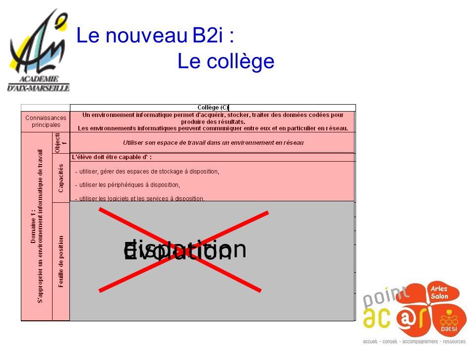Le nouveau B2i : Le collège disparition Evolution
