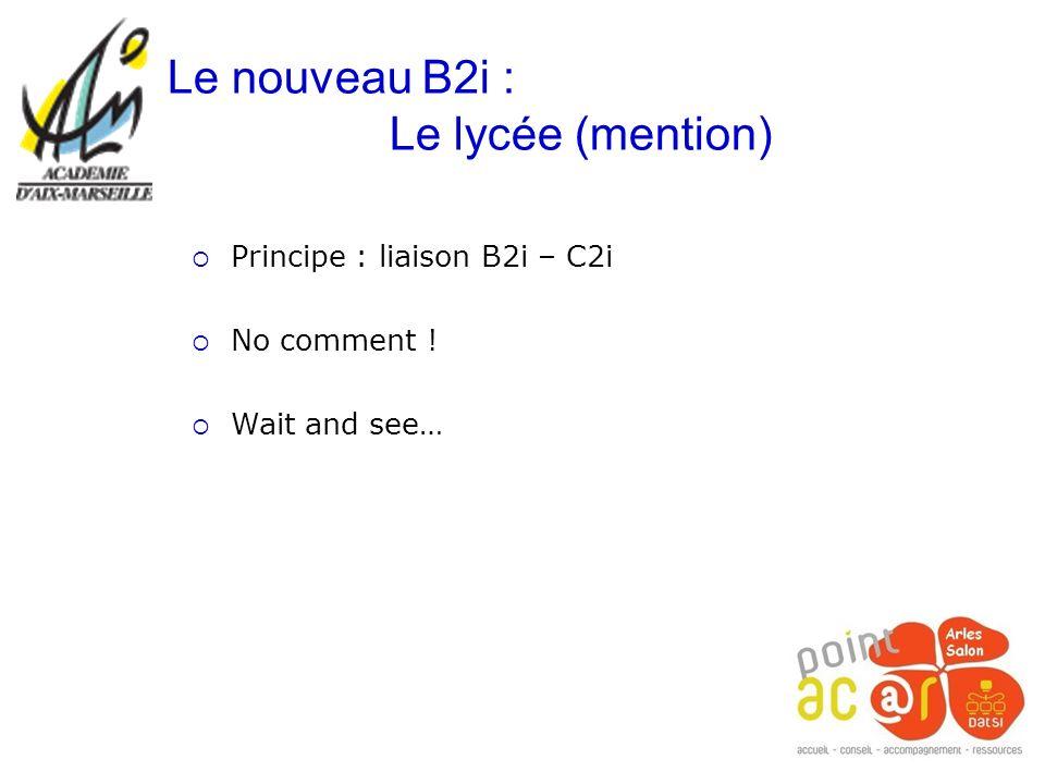 Le nouveau B2i : Le lycée (mention) Principe : liaison B2i – C2i No comment ! Wait and see…