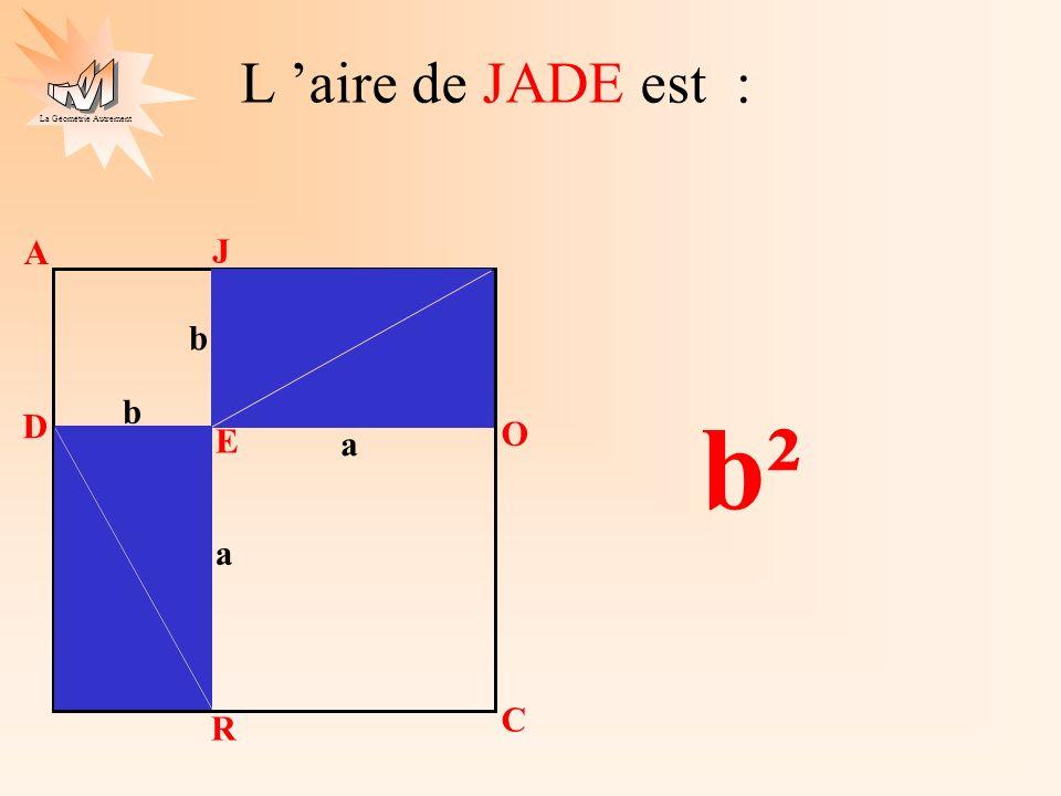 La Géométrie Autrement c J O L I a b a b J A D E O C R L aire de JOLI est égale à la somme des aires de OCRE et de JADE c² a² b² + a b c a b c a b c a b c a b a b