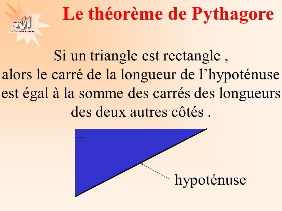 La Géométrie Autrement Le théorème de Pythagore un autre énoncé A C B Si ABC est un triangle rectangle A alors BC² = AB² + AC² .