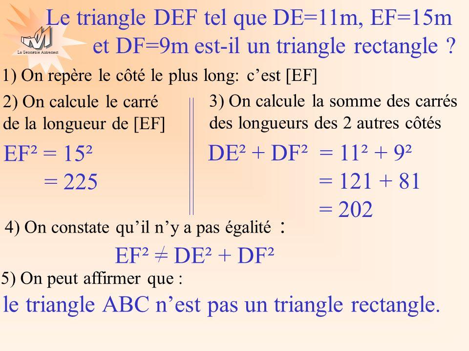 La Géométrie Autrement 2) On repère le côté le plus long: cest [EL] 3) On calcule le carré de la longueur de [EL] 4) On calcule la somme des carrés des longueurs des 2 autres côtés 5) On constate légalité : EL² = 8,5² = 72,25 SE² + SL² = 4² + 7,5² = 16 + 56,25 = 72,25 EL² = SE² + SL² 4cm 8,5cm 7,5cm S O L E A-t-on (SE) (SL) .