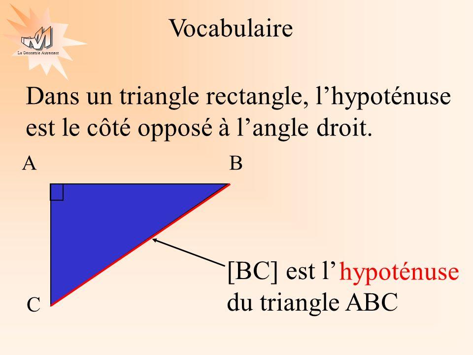 La Géométrie Autrement On a quatre triangles rectangles identiques a b c a b c a b c a b c Démonstration