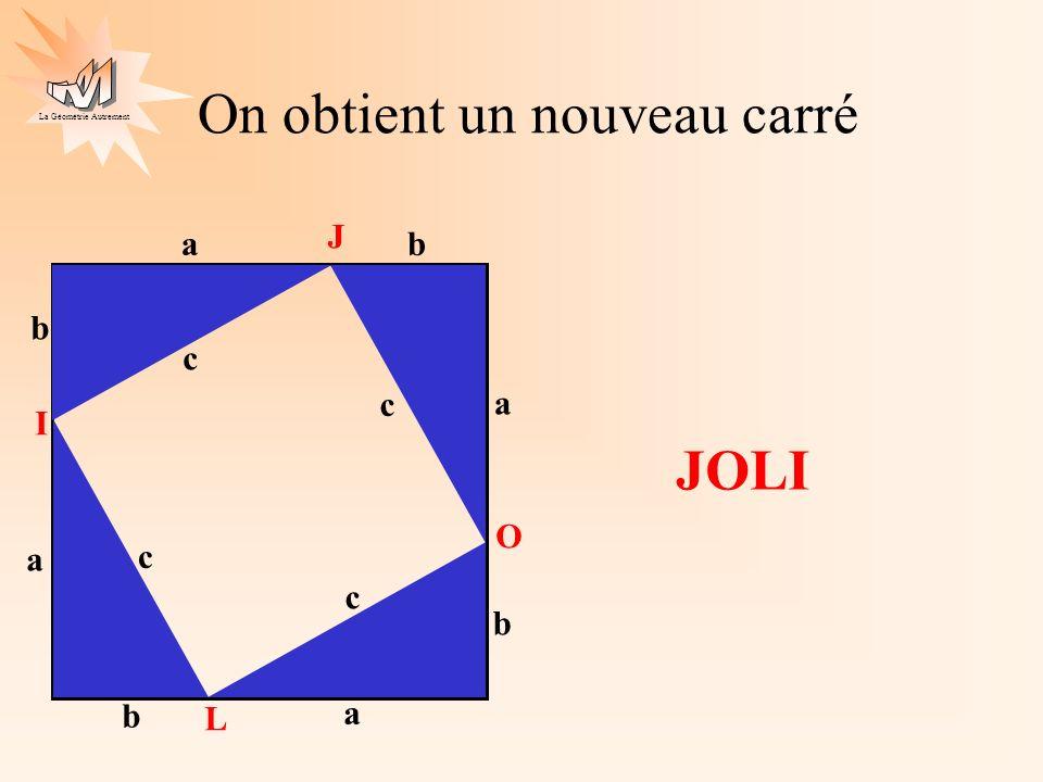La Géométrie Autrement a b c a b c a b c a b c J O L I L aire de JOLI est : c²