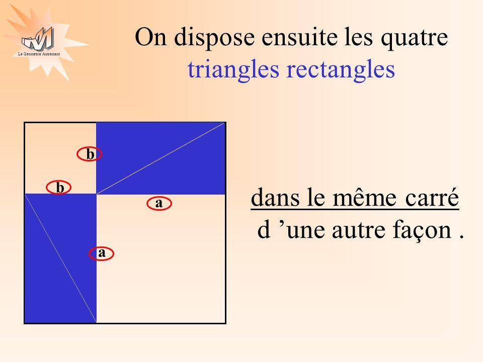 La Géométrie Autrement a b a b On obtient deux nouveaux carrés : JADE J A D OCRE E O C R