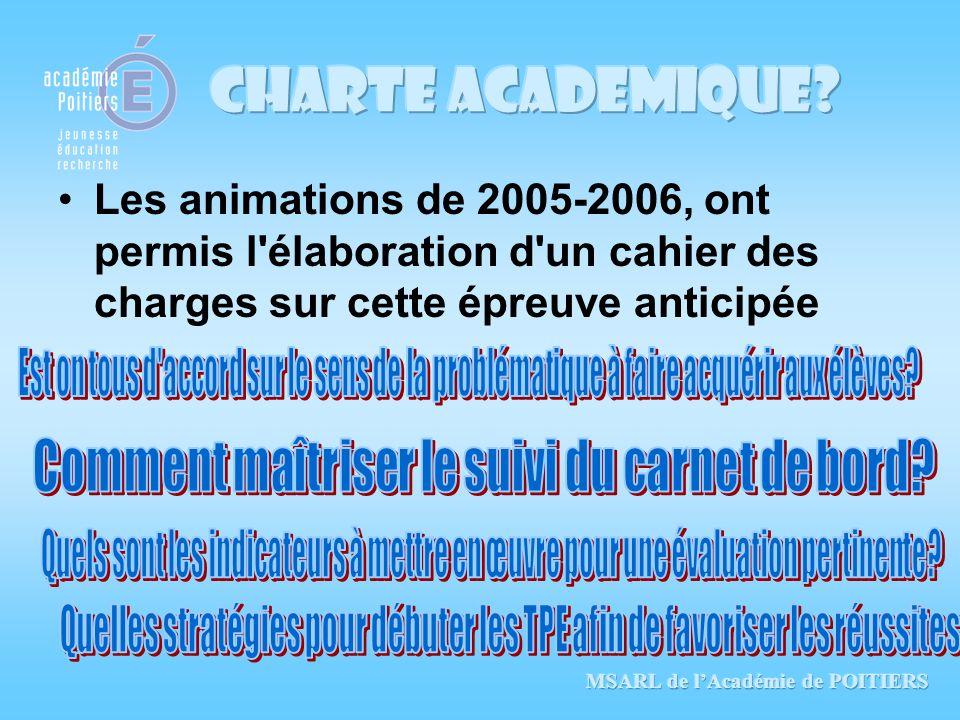 Les animations de 2005-2006, ont permis l'élaboration d'un cahier des charges sur cette épreuve anticipée