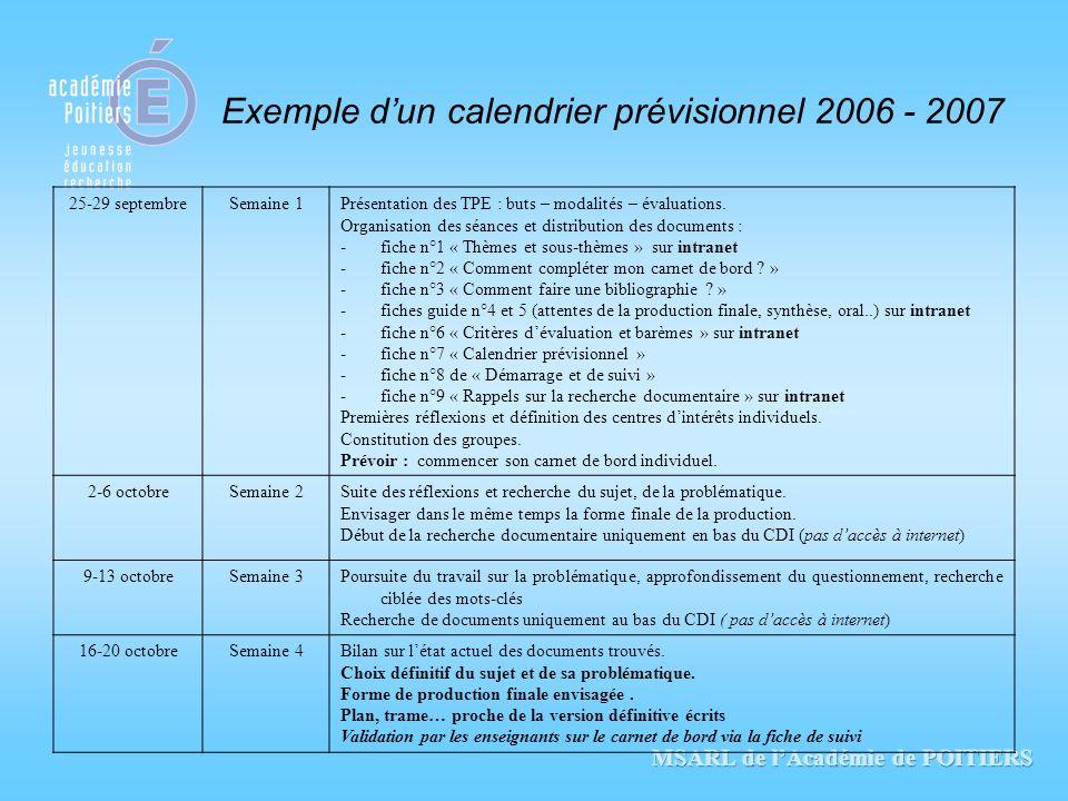 Exemple dun calendrier prévisionnel 2006 - 2007 25-29 septembreSemaine 1Présentation des TPE : buts – modalités – évaluations. Organisation des séance