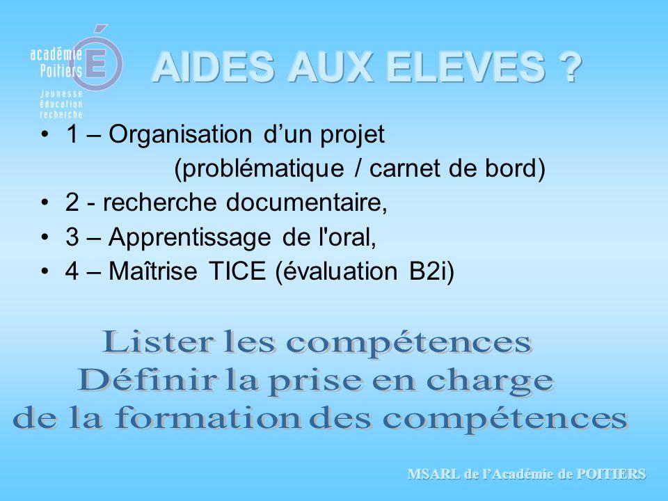 1 – Organisation dun projet (problématique / carnet de bord) 2 - recherche documentaire, 3 – Apprentissage de l'oral, 4 – Maîtrise TICE (évaluation B2