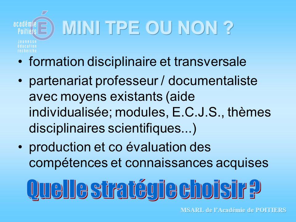 formation disciplinaire et transversale partenariat professeur / documentaliste avec moyens existants (aide individualisée; modules, E.C.J.S., thèmes