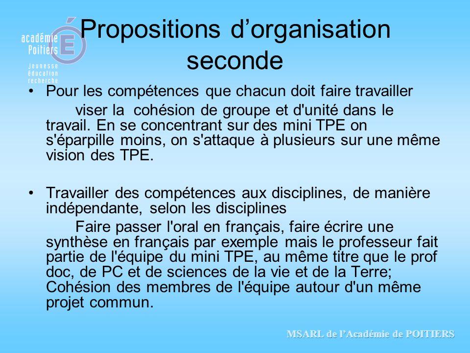 Propositions dorganisation seconde Pour les compétences que chacun doit faire travailler viser la cohésion de groupe et d'unité dans le travail. En se