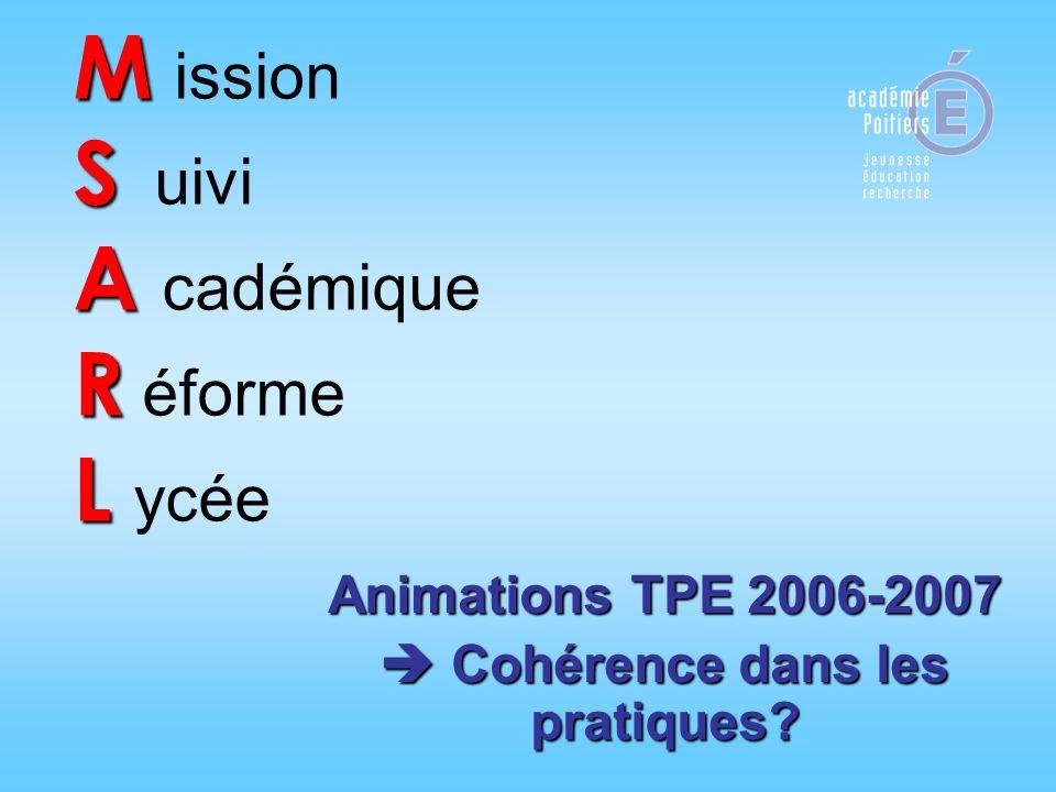 M S A R L M ission S uivi A cadémique R éforme L ycée Animations TPE 2006-2007 Cohérence dans les pratiques? Cohérence dans les pratiques?