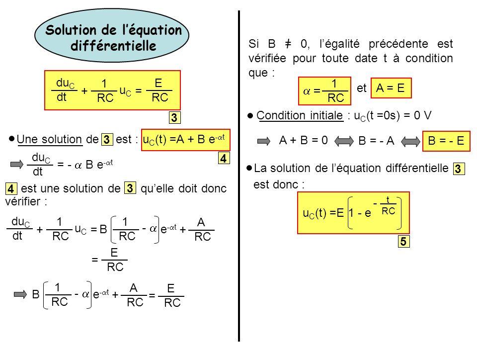 Une solution de est :u C (t) =A + B e - t du C dt = - B e - t 4 est une solution de quelle doit donc 4 3 vérifier : du C dt += 1 RC uCuC B 1 A - e - t