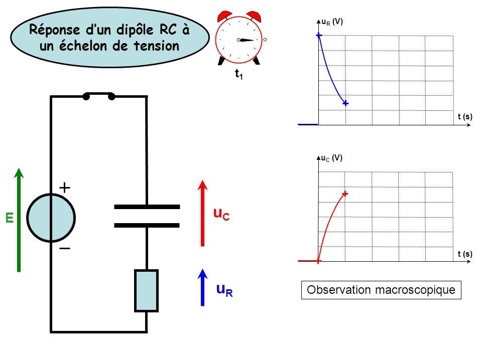Observation macroscopique t (s) u R (V) u C (V) uRuR uCuC t (s) t1t1 Réponse dun dipôle RC à un échelon de tension E