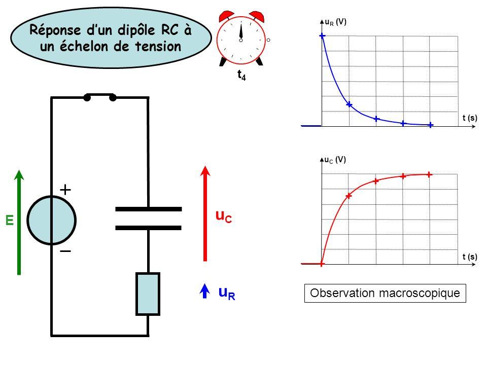 Observation macroscopique u R (V) u C (V) t (s) t4t4 Réponse dun dipôle RC à un échelon de tension E uCuC uRuR
